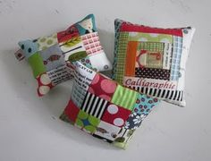 Cute pincushions from tiny scraps.
