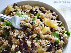 Sweet pineapple and nutty whole wheat bulgur combine with black beans and a honey lime vinaigrette for a light, fresh, and filling salad.