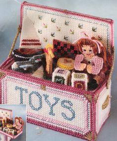 "1992 Bucilla Plastic Canvas Needlepoint Kit #6098 Toy Chest New 8"" X 7.5"""