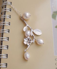 Cherry Blossom Necklace Wedding Jewelry Pearls by DanglingJewelry, $34.00