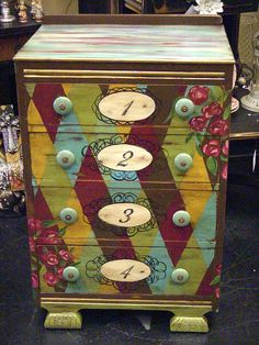 Hand Painted Furniture ~ Numbers my-painted-things Painted Chairs, Hand Painted Furniture, Funky Furniture, Paint Furniture, Repurposed Furniture, Furniture Projects, Furniture Makeover, Antique Furniture, Do It Yourself Furniture