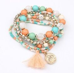 2016 Bohemian Multilayer Candy Color Beads Tassels Bracelet Bangles For Women Elastic Stretch Jewelry Pulseiras Feminina XY-B70