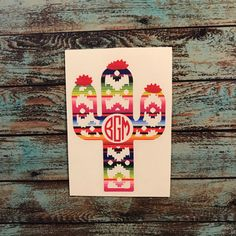 Aztec cactus monogram decal available in many colors, patterns, and sizes too!
