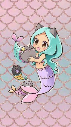 So cute n_n Mermaid Drawings, Mermaid Art, Disney Drawings, Unicorns And Mermaids, Mermaids And Mermen, Mermaid Wallpapers, Cute Wallpapers, Pusheen Cute, Mermaid Pictures