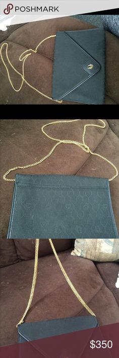 Vintage Dior handbag Vintage adjustable strap Dior handbag. Black with gold lined embellishments. Super cute and one of a kind 💕 Christian Dior Bags Clutches & Wristlets
