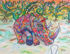 Rhino Art, New School Spirit Animal Art, Spiritual Art - Vela Fine Art - Visionary Art - Matted Art, Reclaimed Wood Frame, Canvas Print by SpiritPervadesMatter on Etsy