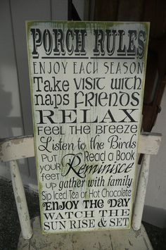 PORCH RULES,  Hand Painted Wood Sign,Typography, Prim Wall Decor, uNiQuE Shabby on Etsy, $45.00