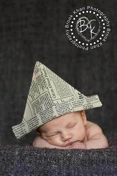 Newspaper hat boy photo prop for newborns - Ready To Ship. $19.95, via Etsy.