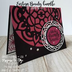 Stampin' Up! Eastern Beauty bundle with Eastern Medallion thinlits, Pattern Party Decorative Masks, and Embossing Paste - Sarah Fleming - Prepare to Dye Papercrafts - Stamping Sunday Blog Hop