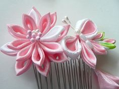 Pink Lily And Butterfly  Fabric Flower Hair Comb by MizuSGarden, $40.00 That is a nice butterfly.
