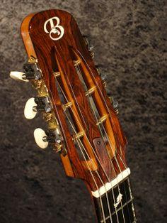 Handmade Steel String Guitar slotted headstock. Tom Bills