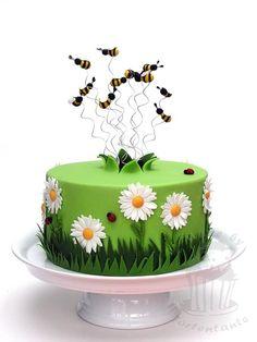 Spring cake with bees - cake by Monika Baby Cakes, Cupcake Cakes, Cupcakes, Gateau Iga, Beautiful Cakes, Amazing Cakes, Garden Cakes, Spring Cake, Cake Blog
