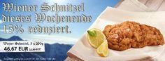 """Hüttengaudi bei Gourmetfleisch.de        Wir schenken Ihnen 15 % beim Kauf eines Original Wiener Schnitzel aus der saftigen Kalbs-Oberschale.           Zum Angebot: Gültig bis 17:00 Uhr.    http://www.gourmetfleisch.de/rind/wiener-schnitzel-5-x-200g.html    Expertentipp: Die Panade wird besonders """"fluffig"""", wenn Sie frisch geschlagene Sahne der Eimasse beimischen.       Versand: 5 Schnitzel, je 200 g,"""