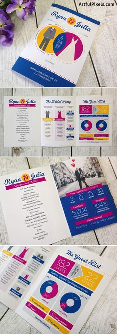 Include stats from your relationship, bridal party, and guest list. Order Of Wedding Ceremony, Diy Wedding Programs, Ceremony Programs, Our Wedding, Wedding Invitations, Wedding Timeline, Wedding Stationary, Spring Wedding, Wedding Things