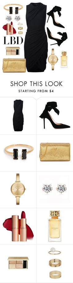 """The Golden LBD"" by ayuhariyani on Polyvore featuring Alexander Wang, Gianvito Rossi, Yves Saint Laurent, Michael Kors, Tory Burch, Miss Selfridge, chic, gold, LBD and Glamour"