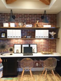 Home office is beautiful with the brick wall | http://www.bocadolobo.com/en/index.php | #homeoffice #homeofficedecor