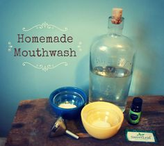 Homemade Mouthwash: water with baking soda , and EO- thyme, myrrh, peppermint, tea tree and drop of Trace Minerals. gm John 3:16