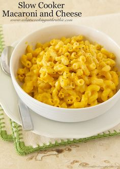 Slow Cooker Macaroni and Cheese will be gone in 30 seconds! Easy to make! by www.whatscookingwithruthie.com #recipes #slowcooker #pasta
