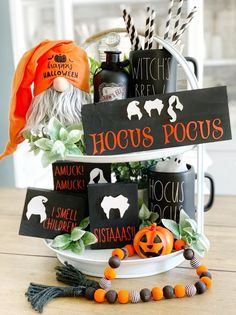 These cute 3d Hocus pocus signs are a perfect addition to your farmhouse and Rae Dunn fall/ Halloween Decor They look great on Tiered trays, shelves, hutches and by themselves. These signs are 3D. Meaning the Wood cut outs are raised. Made in my home and hand painted by me. These are not framed!! Hocus pocus long (4x10) Set of 3 sisters (3.5x4.5)