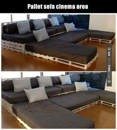 Pallet sofa cinema area