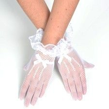 Net gloves with lace and bow trim