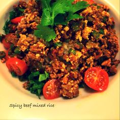 Spicy beef mixed rice