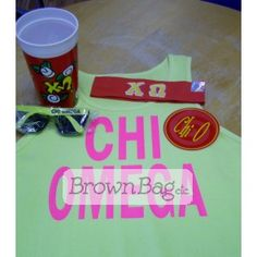 Order this Chi Omega Bid Day package! Bid Day Gifts, Sorority Gifts, Chi Omega, Brown Bags, Online Gifts, Packaging, Tableware, Paper Bags, Dinnerware