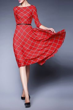 Gyalwana Red Plaid Swing Dress | Midi Dresses at DEZZAL