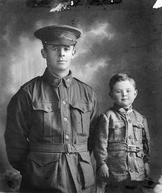 Studio portrait of Australian Private Walter Henry Chibnall, Light Trench Mortar Battery and his son William Beresford Chibnall in Walter was killed in action at Passchendaele, His son would enlist during WWII and die in Japanese captivity in 1942 World War One, Second World, First World, Commonwealth, Ww1 Soldiers, Gothic, Killed In Action, Pilot, Anzac Day