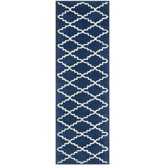 "Handmade Moroccan Dark Blue Diamond Wool Rug (2'3"" x 9')"