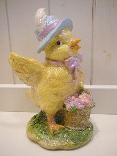 "Easter Chic Chicken German Mold Glitter Chalkware 7"" Tall"