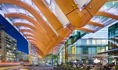 TELUS Garden in downtown Vancouver, B.C. is a sprawling multi-use development that houses the telecommunications company's headquarters, a LEED Platinum design by Henriquez Partners Architects, OMB as interior architects.