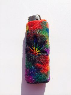 Rainbow tiedye marijuana leaf bic lighter case by LotLighters, $6.00