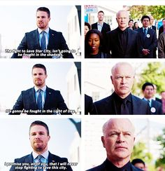 """""""The fight to save Star City, it's gonna be fought in the Light of Day"""" - Oliver Queen & Damien Darhk #Arrow"""