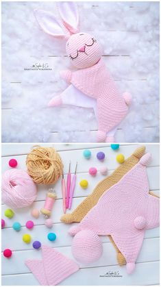 Easy Crochet Patterns, Amigurumi, Baby lovey toys by AVokhminaPatterns Crochet Lovey, Crochet Bunny Pattern, Crochet Baby Toys, Crochet Amigurumi Free Patterns, Crochet Animal Patterns, Crochet Blanket Patterns, Baby Blanket Crochet, Baby Knitting Patterns, Crochet For Kids