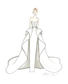 Get an exclusive first look at the newest wedding dresses from your favorite bridal designers. Here, 51 of our favorite dress designers shared a sketch from their upcoming Spring 2019 Bridal Fashion Week collections. Dress Design Drawing, Dress Design Sketches, Fashion Design Drawings, Fashion Sketches, Wedding Dress Drawings, Fashion Drawing Tutorial, Fashion Illustration Dresses, Illustration Mode, Drawing Clothes