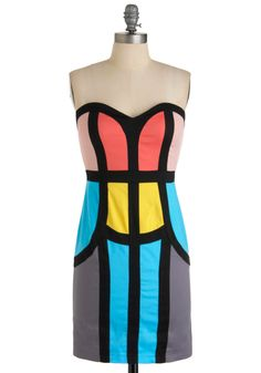 Sheath Comes in Colors Dress  $80    I hate strapless but I love these colors and lines.