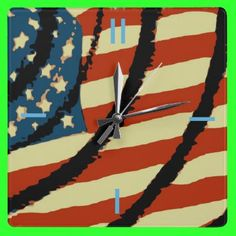 American Flag Square Wallclock by Groovyal