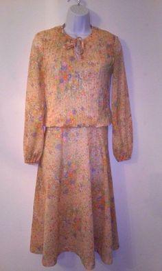 VTG 1980's Sue Brett Peach Colored Tie Neck Floral Career Dress  #SueBrett