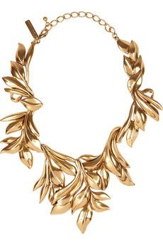 OSCAR DE LA RENTA- 24-karat gold-plated leaf necklace