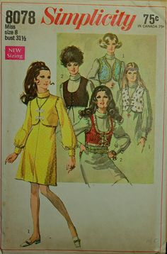 1960s Dress and Boleros Simplicity Pattern 8078 by patterntreasury