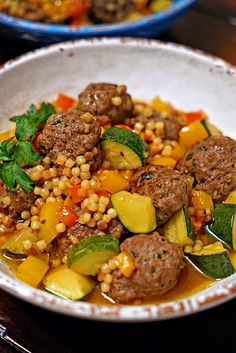 Moroccan Lamb Meatballs with Toasted Fregola