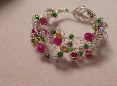 Spring Fling Wire bracelet with Magenta Jade. Michelle Cobb, Intention Crystals Jewelry
