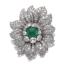 Emerald and diamond clip, Van Cleef & Arpels | Lot | Sotheby's
