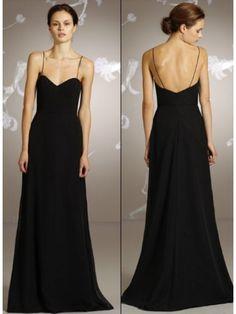 A-line Spaghetti Straps Sweetheart Floor Length / Long Black Chiffon Bridesmaid / Prom / Formal / Evening / Wedding Party Dresses 2301081