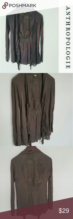Anthropologie drape front cardigan! M In excellent condition! Beautiful anthropologie Tiny brand drape front cardigan. Longer fit, light mocha color. Gorgeous embroidered detail on back! Size medium  Bundle using the bundle feature and save! Anthropologie Tops