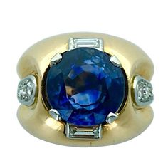 1940s Sapphire Diamond Platinum Gold Ring | From a unique collection of vintage more rings at https://www.1stdibs.com/jewelry/rings/more-rings/
