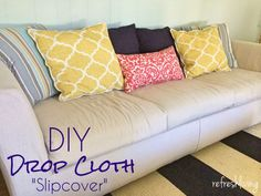 no sew sofa makeover how to cover a sofa with fabric drop cloth sofa makeover coastal decor and drop