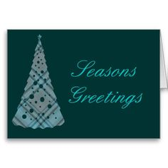 Blue Plaid Christmas Tree Greeting Card