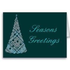 Blue Plaid Christmas Tree Greeting Card